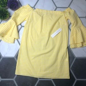 Amanda Uprichard yellow gingham bell sleeve dress